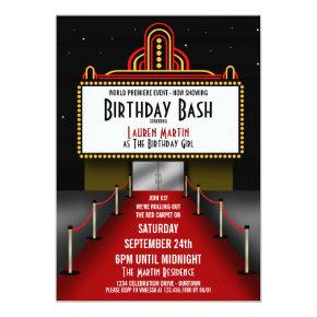 Red Carpet Theater Birthday Party Invitation