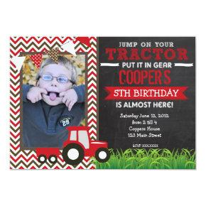 Red Chevron Tractor Birthday Party Invitations