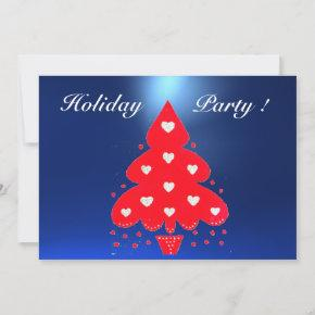 RED CHRISTMAS TREE HOLIDAY PARTY blue Invitation