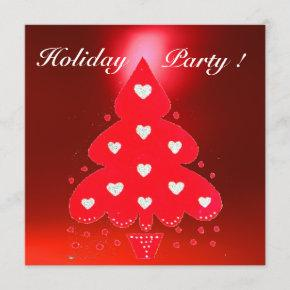 RED CHRISTMAS TREE HOLIDAY PARTY blue white Invitation