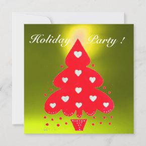 RED CHRISTMAS TREE HOLIDAY PARTY,Emerald Invitation