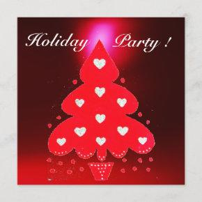RED CHRISTMAS TREE HOLIDAY PARTY green white Invitation