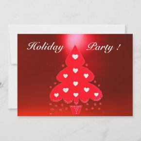 RED CHRISTMAS TREE HOLIDAY PARTY INVITATION