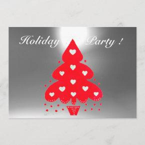 RED CHRISTMAS TREE HOLIDAY PARTY white Invitation