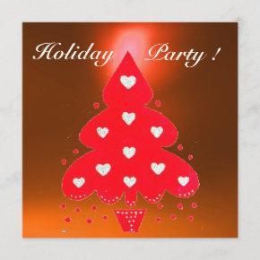 RED CHRISTMAS TREE HOLIDAY PARTY white orange Invitation
