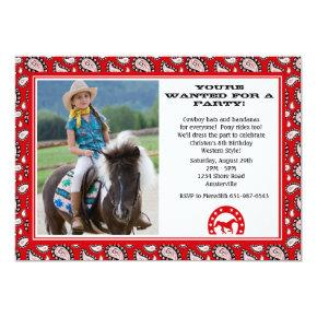 Red Cowboy Bandana Photo Invitations