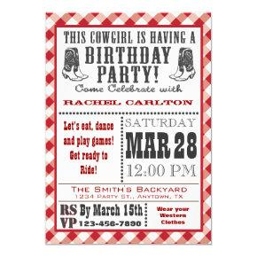 Red Cowgirl Birthday Invitations
