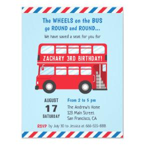 Red Double Deck London Bus Kids Party Invitations