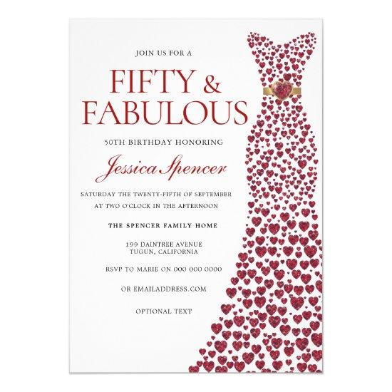 red dress 50 fifty fabulous 50th birthday party invitations