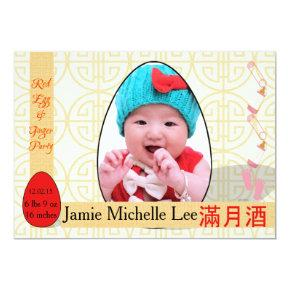 Red Egg and Ginger One-Month Baby Girl Party Invitation