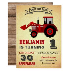 Red Farm Tractor First Birthday Party Invitations