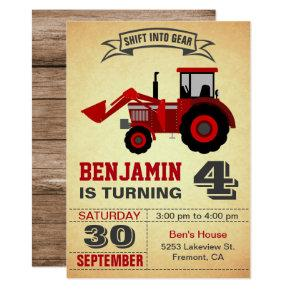 Red Farm Tractor Kids Birthday Party Invitations