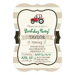 Red Farm Tractor on Tan Stripes Card