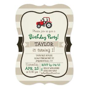 Red Farm Tractor on Tan Stripes Invitations