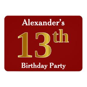 Red Faux Gold 13th Birthday Party Custom Name Invitations