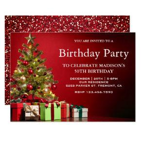 Red Festive Holiday Christmas Tree Birthday Party Invitations
