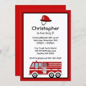 Red Fire Engine and Hat Birthday Party