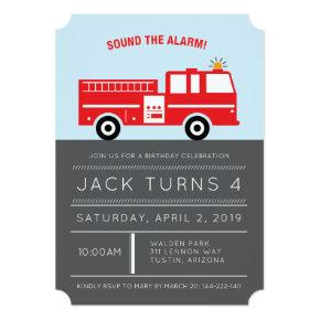 Red Fire Engine Birthday Party Invitation