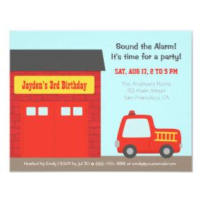 Red Fire Truck and Station Boys Birthday Party Invitation