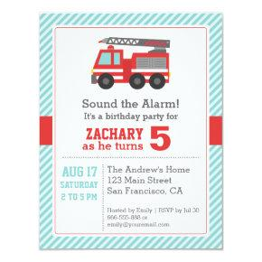Red Fire Truck Birthday Party Invitations