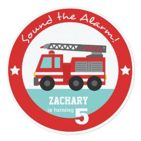 Red Fire Truck Boy Birthday Party, Circle Invitations