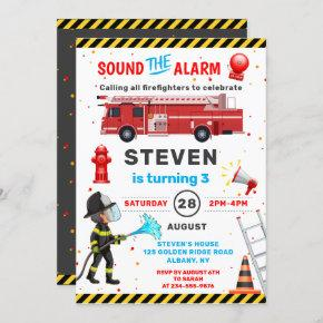 Red Fire Truck Firefighter Birthday Party Invitation