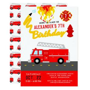 Red Fire Truck Party Theme Firefighter Birthday Invitations