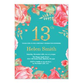 Red Floral 13th Birthday Gold Glitter and Teal Invitation