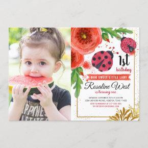 Red Floral Ladybug Watercolour 1st Birthday Photo Invitation