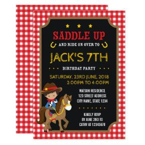 Red Gingham Wild West Tan Cowboy Birthday Invitations