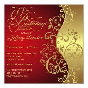 Red &  Gold 70th Birthday Party Invitation