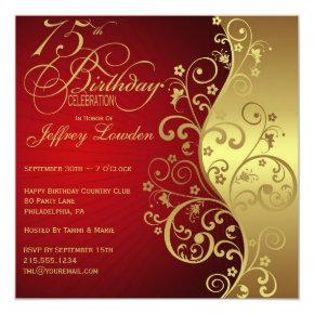 Red & Gold 75th Birthday Party Invitations