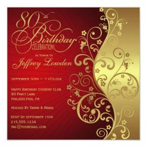Red & Gold 80th Birthday Party Invitations