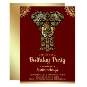 Red Gold Elephant Indian Birthday Party Invitations