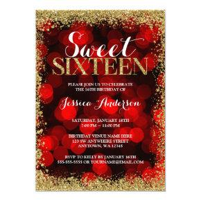 Red Gold Faux Glitter Lights Sweet 16 Birthday Card