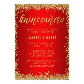 Red Gold Faux Glitter Quinceanera 15th Birthday Invitations