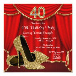 Red Gold High Heel 40th Birthday Party Card