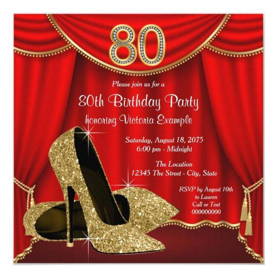 Red Gold High Heel 80th Birthday Party Invitations