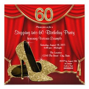 Red Gold High Heel Stepping into 60 Birthday Party Invitations