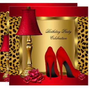Red Gold High Heels Roses Leopard Birthday Party 2 Invitation