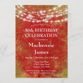 Red Gold Lights Birthday Party Invitation Adult