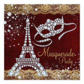 Red Gold Paris Masquerade Party Invitations