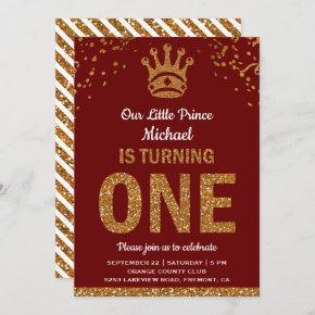 Red Gold Royal Prince First Birthday Invitation