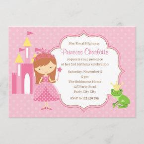 Red Hair Princess Birthday Invitation Pink Castle
