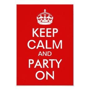 Red Keep Calm and Party On Birthday Card