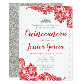 Red Lace and Silver Glitter Princess Quinceañera Invitation