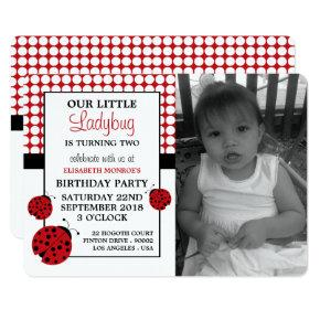 Red Ladybug Children's Birthday Party Invitation
