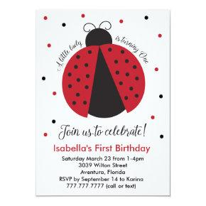 Red Ladybug Girl's First Birthday Invitation