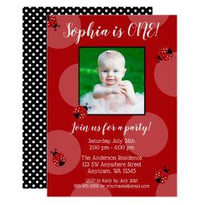 Red Ladybug Polka Dot Birthday Photo Invitations