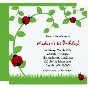 Red Ladybug Vines Birthday Party Invitations